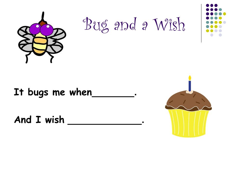 Bug and a Wish It bugs me when ________. And I wish ______________.