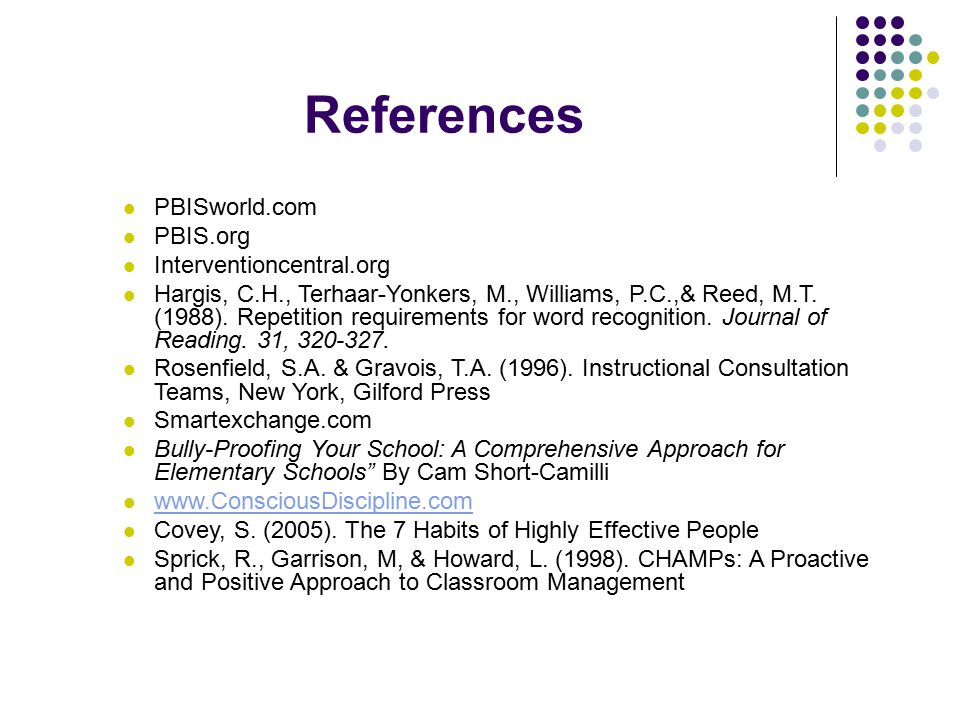 References PBISworld.com PBIS.org Interventioncentral.org Hargis, C.H., Terhaar-Yonkers, M., Williams, P.C.,& Reed, M.T. (1988). Repetition requiremen