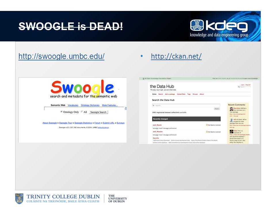 SWOOGLE is DEAD! http://swoogle.umbc.edu/ http://ckan.net/