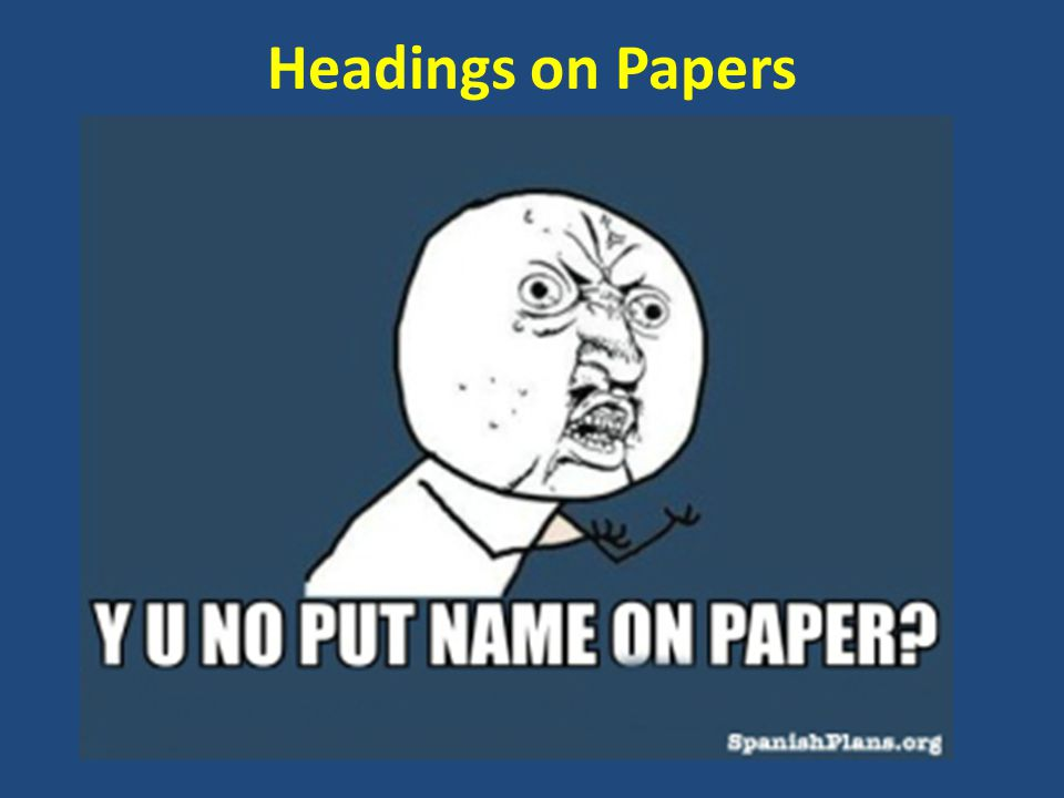 Headings on Papers