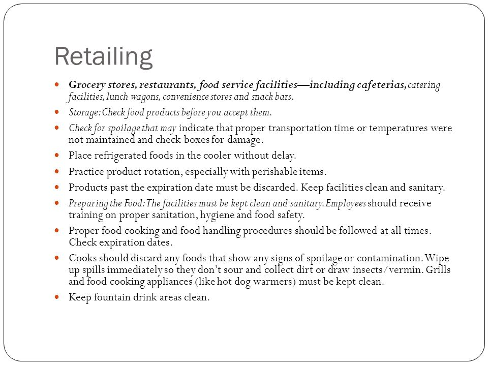 Retailing Grocery stores, restaurants, food service facilities—including cafeterias, catering facilities, lunch wagons, convenience stores and snack b