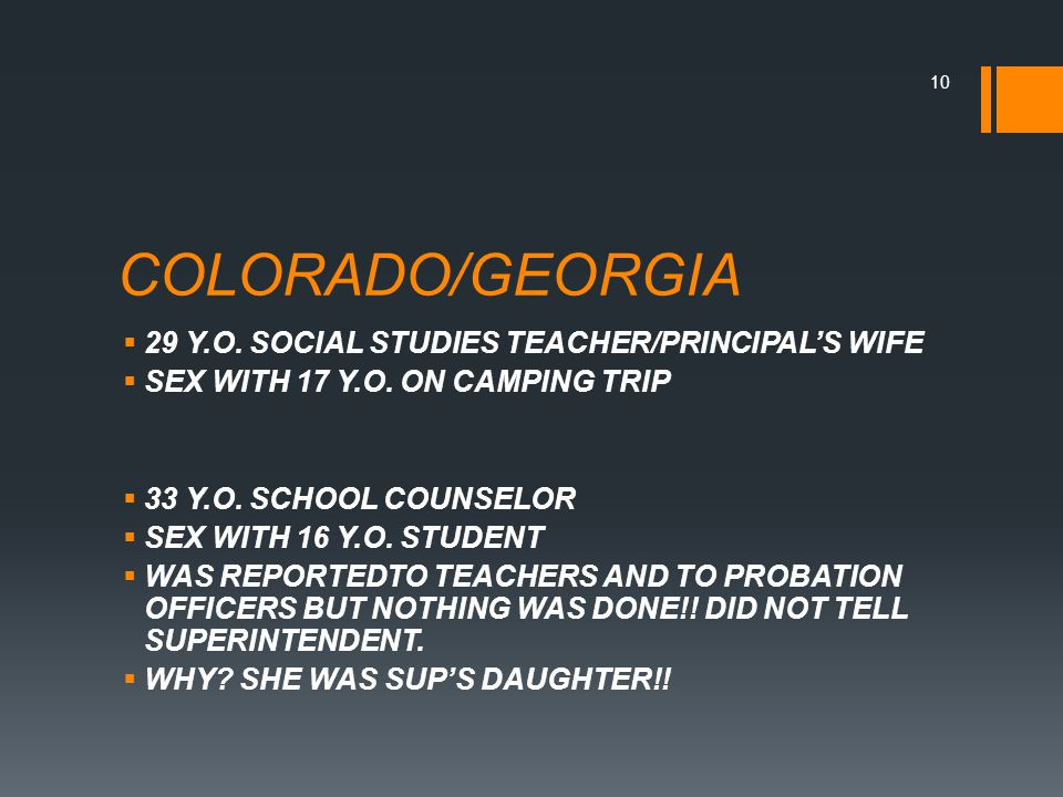 COLORADO/GEORGIA  29 Y.O. SOCIAL STUDIES TEACHER/PRINCIPAL'S WIFE  SEX WITH 17 Y.O.