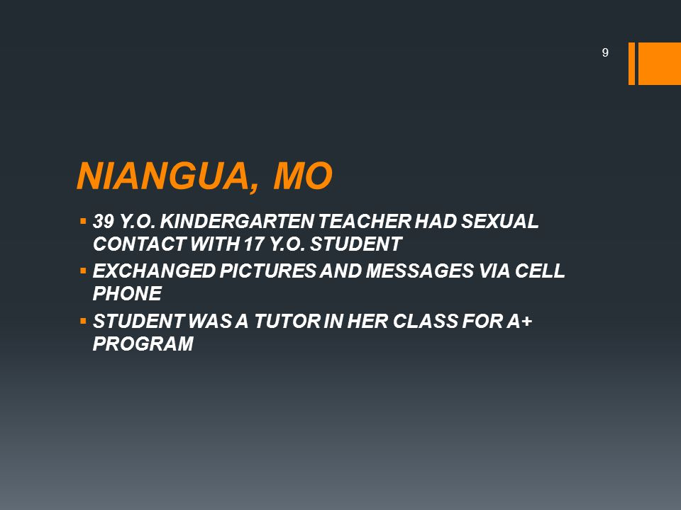NIANGUA, MO  39 Y.O. KINDERGARTEN TEACHER HAD SEXUAL CONTACT WITH 17 Y.O.