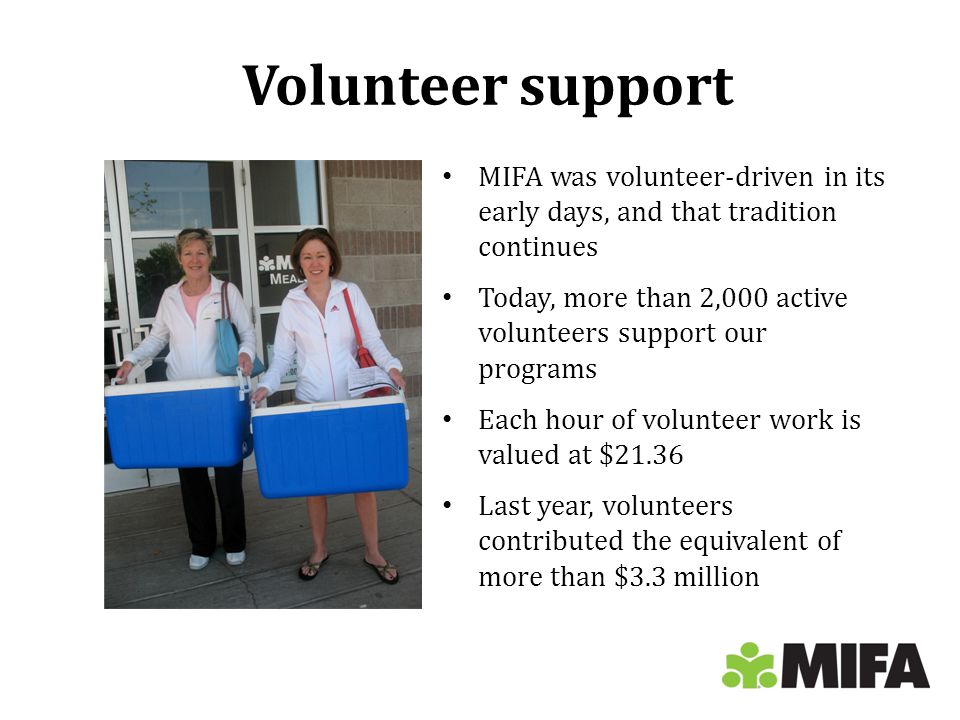 Volunteer support MIFA was volunteer-driven in its early days, and that tradition continues Today, more than 2,000 active volunteers support our programs Each hour of volunteer work is valued at $21.36 Last year, volunteers contributed the equivalent of more than $3.3 million