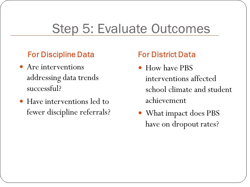 Step 5: Evaluate Outcomes For Discipline DataFor District Data Are interventions addressing data trends successful.