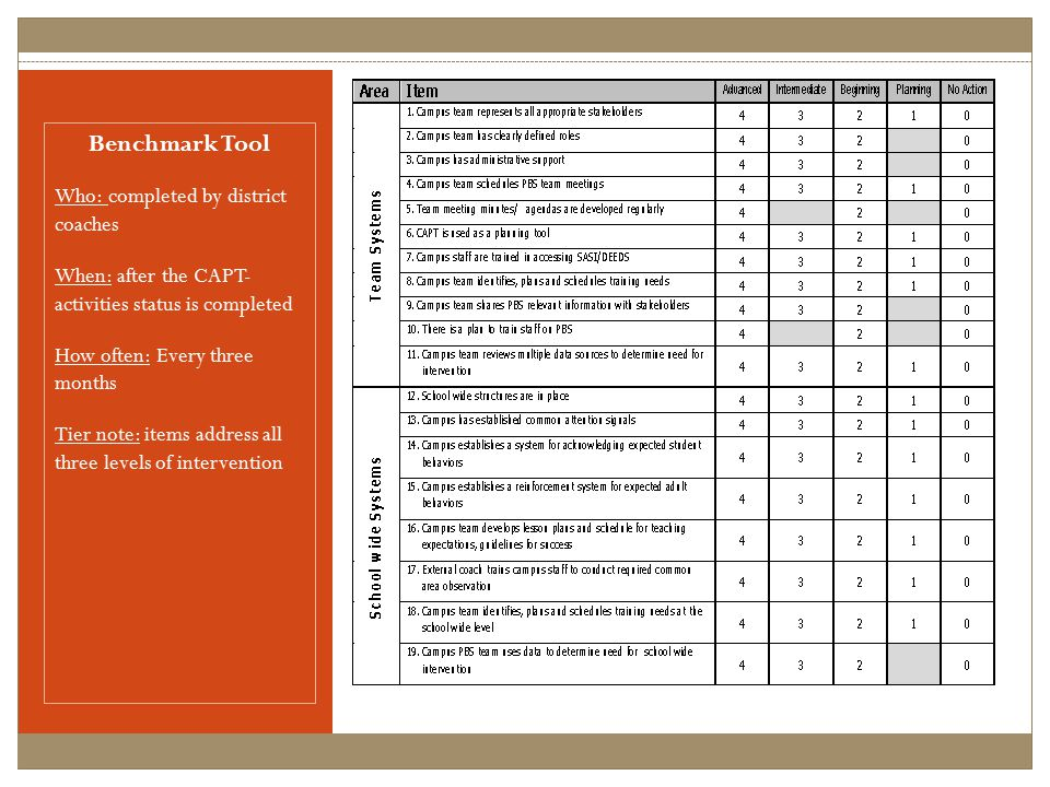 Benchmark Tool Who: completed by district coaches When: after the CAPT- activities status is completed How often: Every three months Tier note: items address all three levels of intervention