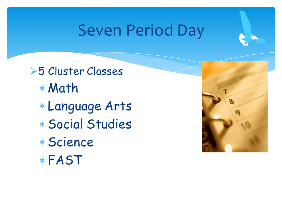 5 Cluster Classes  Math  Language Arts  Social Studies  Science  FAST Seven Period Day
