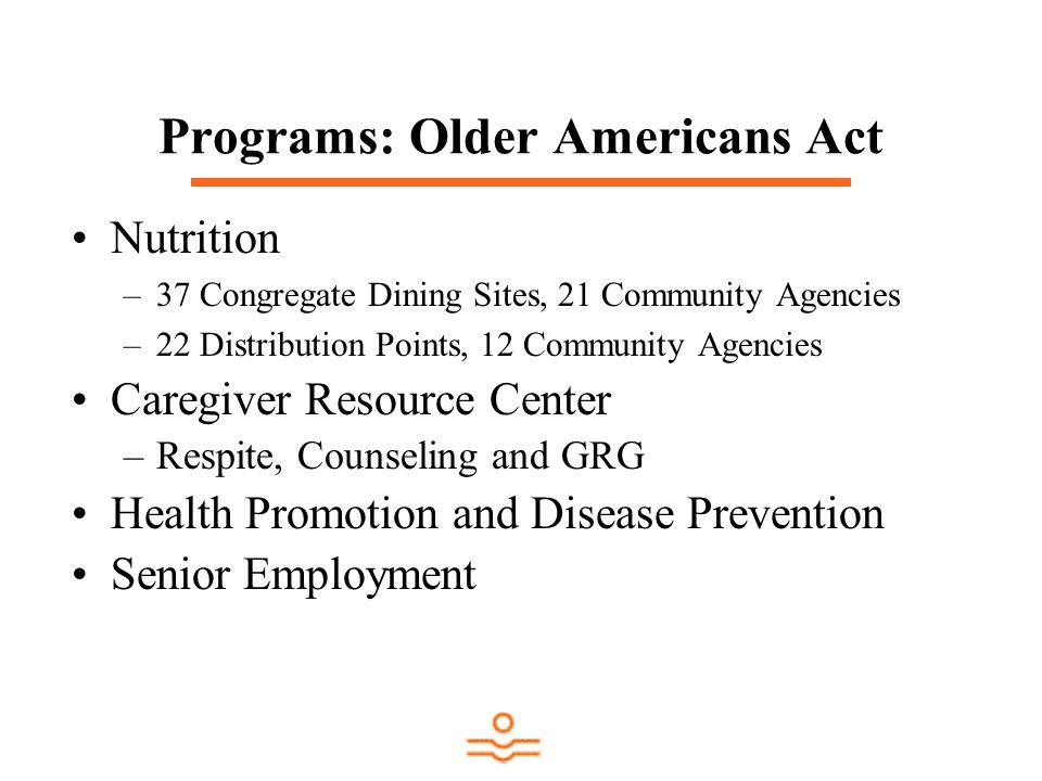 Programs: Older Americans Act Nutrition –37 Congregate Dining Sites, 21 Community Agencies –22 Distribution Points, 12 Community Agencies Caregiver Re