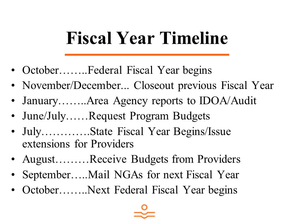 Fiscal Year Timeline October……..Federal Fiscal Year begins November/December... Closeout previous Fiscal Year January……..Area Agency reports to IDOA/A