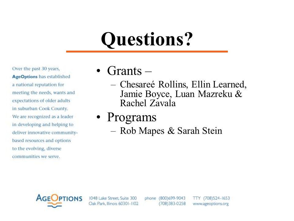 Questions? Grants – –Chesareé Rollins, Ellin Learned, Jamie Boyce, Luan Mazreku & Rachel Zavala Programs –Rob Mapes & Sarah Stein