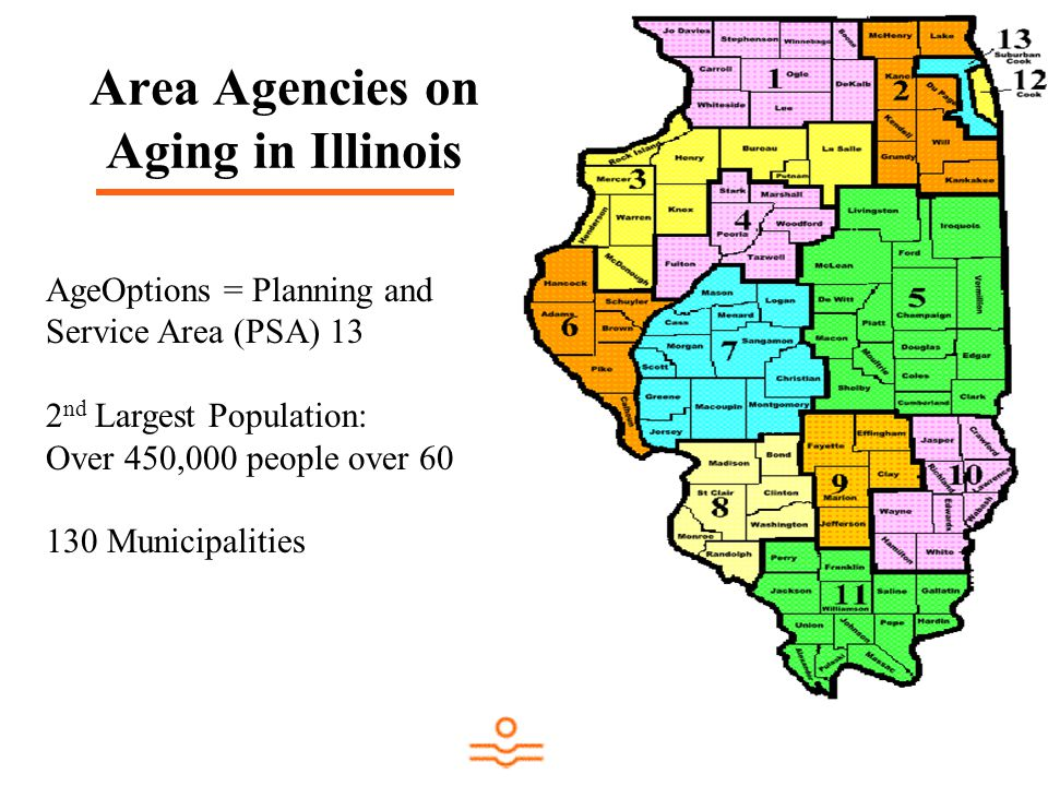 Area Agencies on Aging in Illinois AgeOptions = Planning and Service Area (PSA) 13 2 nd Largest Population: Over 450,000 people over 60 130 Municipalities