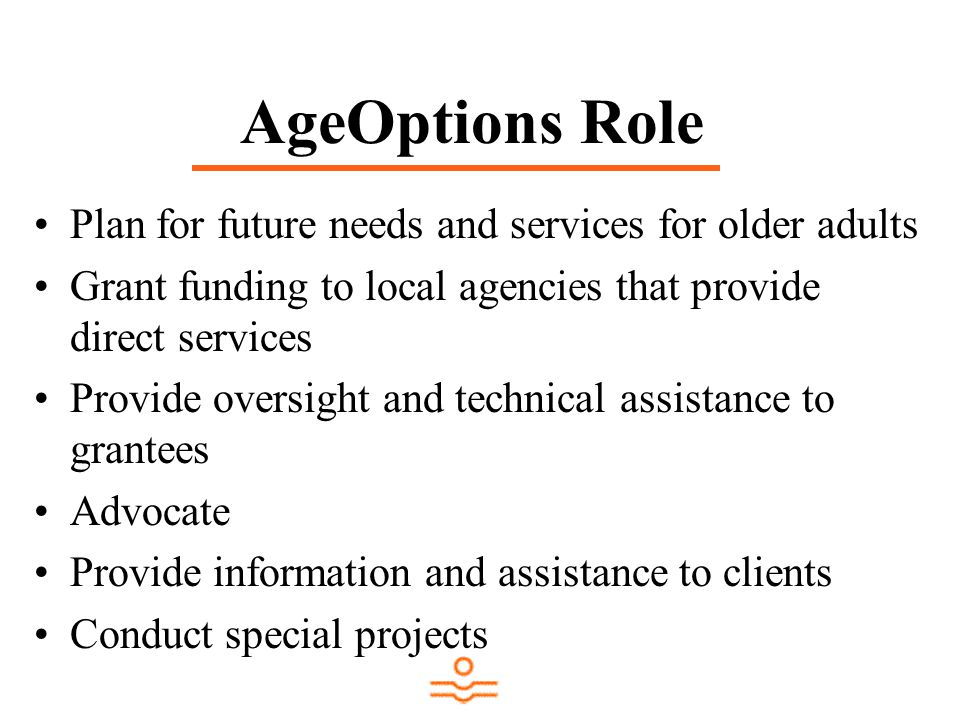 AgeOptions Role Plan for future needs and services for older adults Grant funding to local agencies that provide direct services Provide oversight and