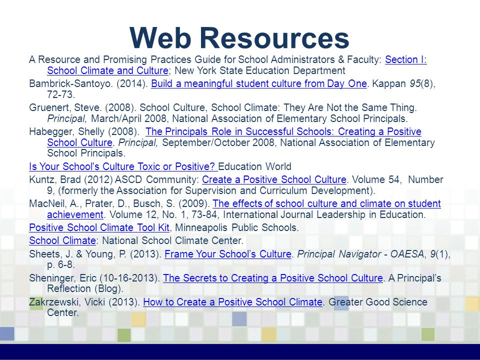 Web Resources A Resource and Promising Practices Guide for School Administrators & Faculty: Section I: School Climate and Culture; New York State Educ