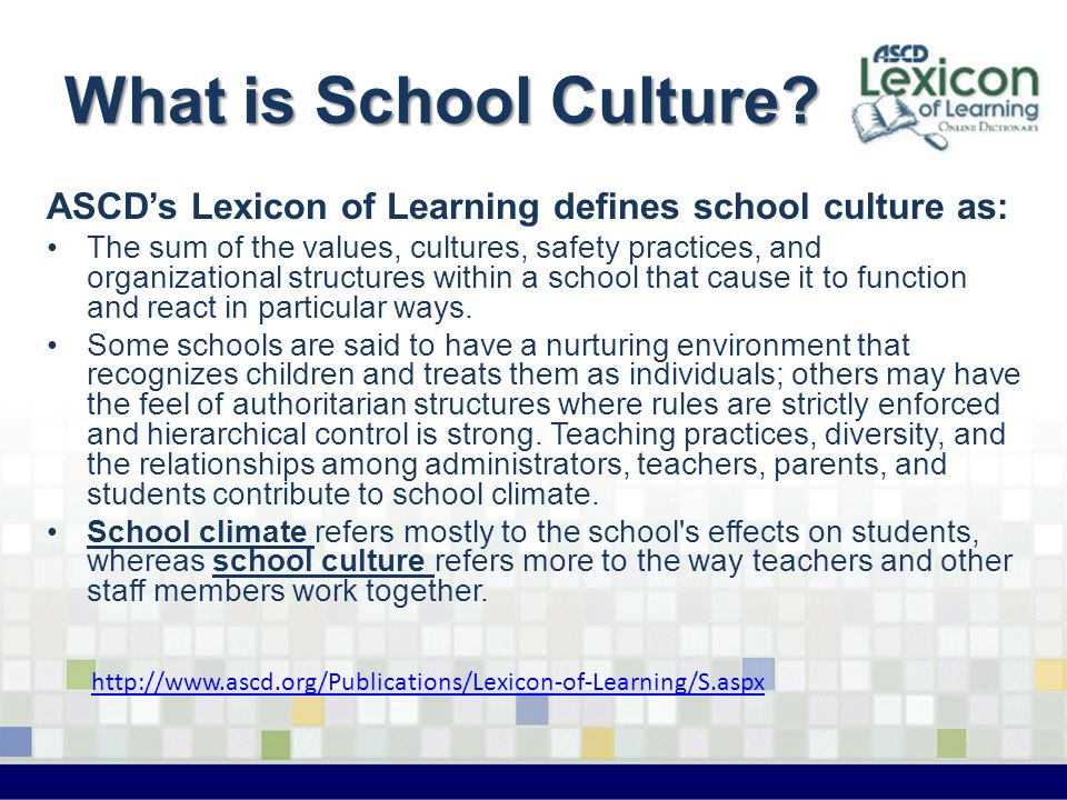 What is School Culture? ASCD's Lexicon of Learning defines school culture as: The sum of the values, cultures, safety practices, and organizational st