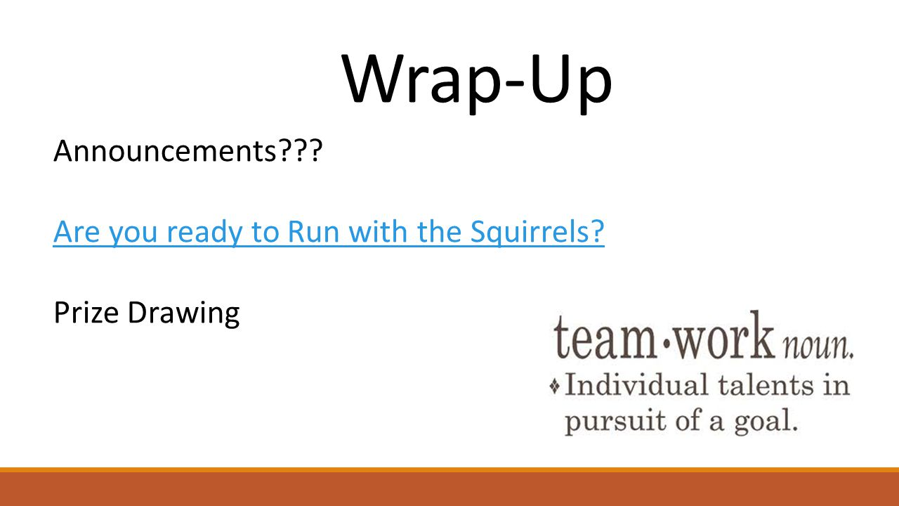 Wrap-Up Announcements Are you ready to Run with the Squirrels Prize Drawing