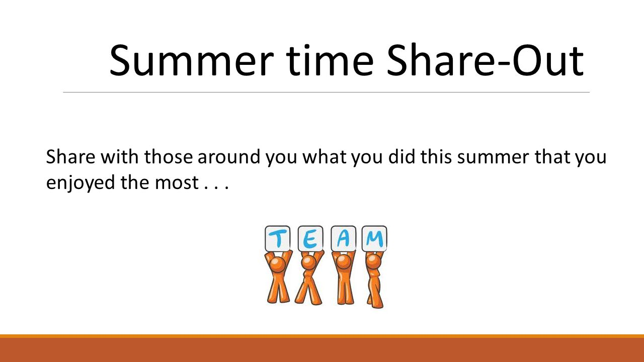 Summer time Share-Out Share with those around you what you did this summer that you enjoyed the most...