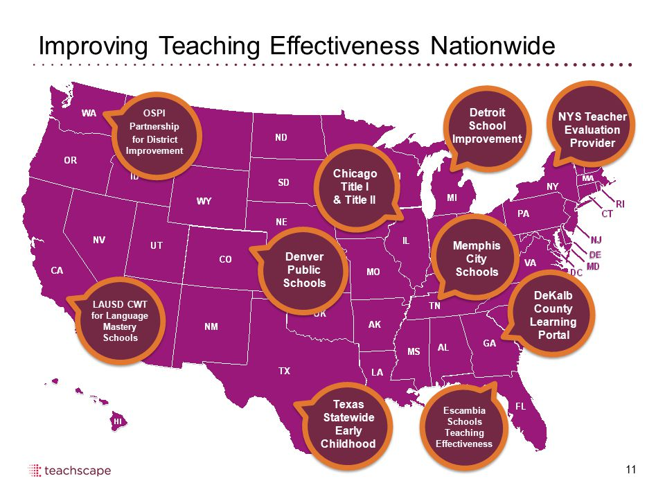 Improving Teaching Effectiveness Nationwide 11 OSPI Partnership for District Improvement LAUSD CWT for Language Mastery Schools Denver Public Schools
