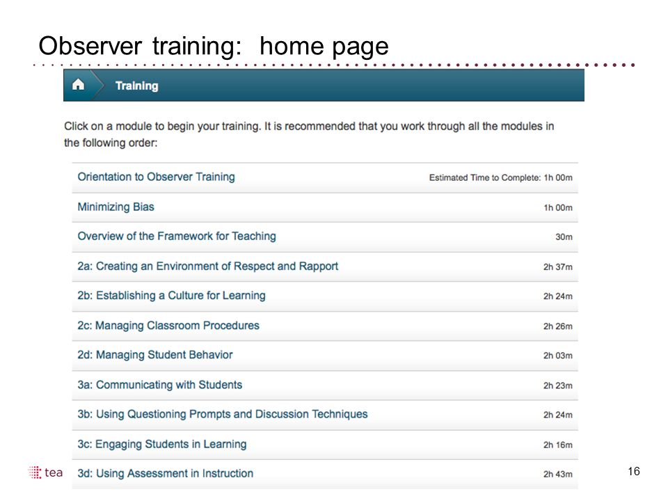 Observer training: home page 16