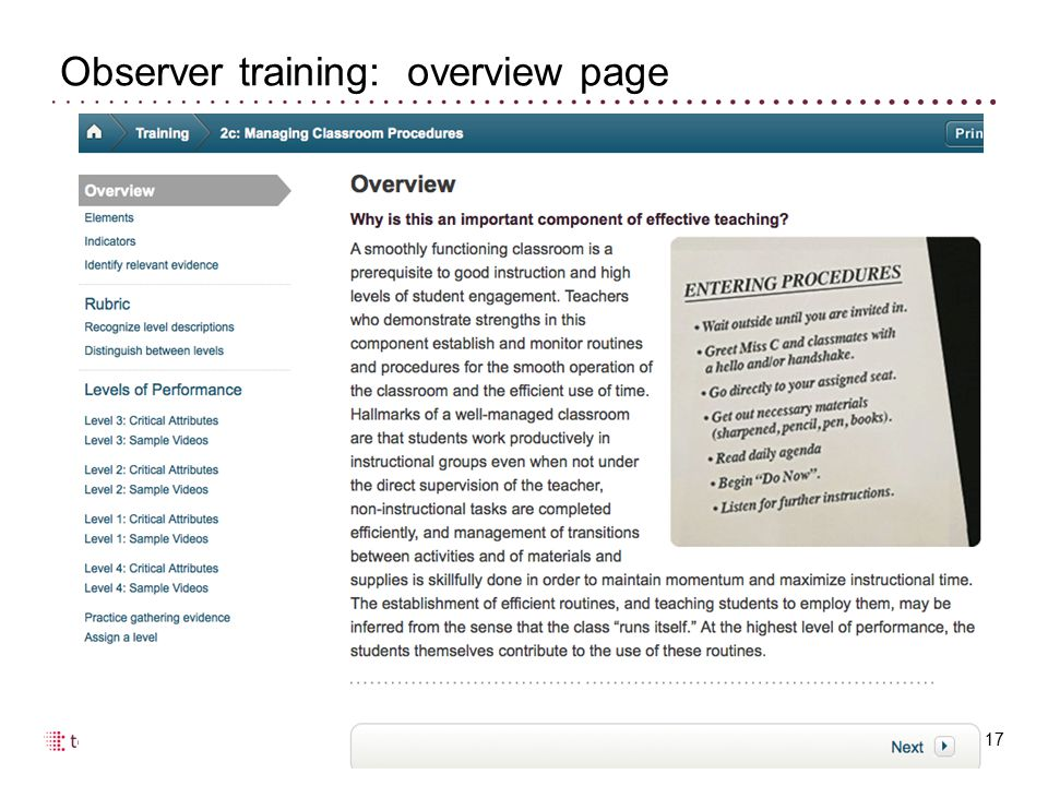 Observer training: overview page 17