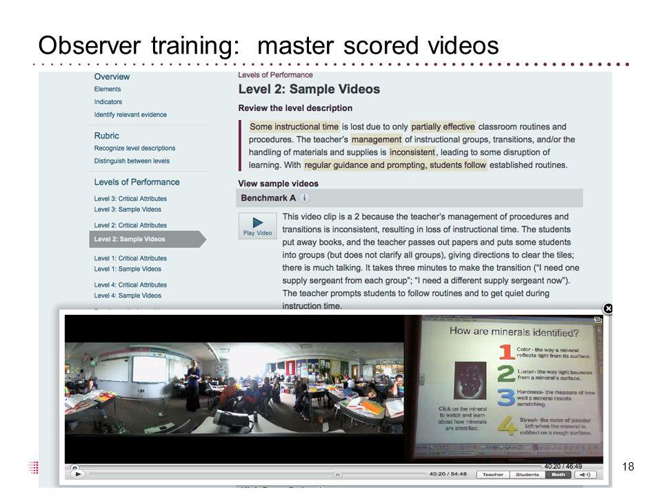 Observer training: master scored videos 18