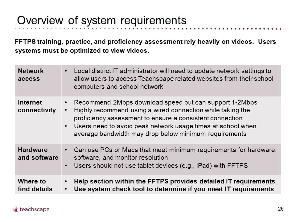 Overview of system requirements 26 Network access Local district IT administrator will need to update network settings to allow users to access Teachs