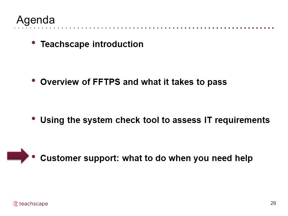 Agenda 29 Teachscape introduction Overview of FFTPS and what it takes to pass Using the system check tool to assess IT requirements Customer support: