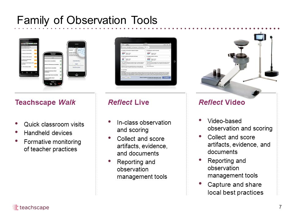 Family of Observation Tools 7 Teachscape Walk Quick classroom visits Handheld devices Formative monitoring of teacher practices Reflect Live In-class