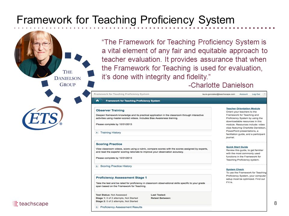 Agenda 29 Teachscape introduction Overview of FFTPS and what it takes to pass Using the system check tool to assess IT requirements Customer support: what to do when you need help