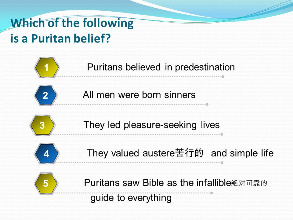 Which of the following is a Puritan belief.