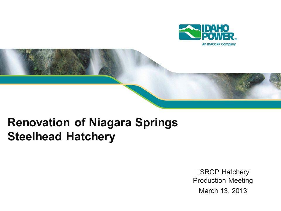 Renovation of Niagara Springs Steelhead Hatchery LSRCP Hatchery Production Meeting March 13, 2013