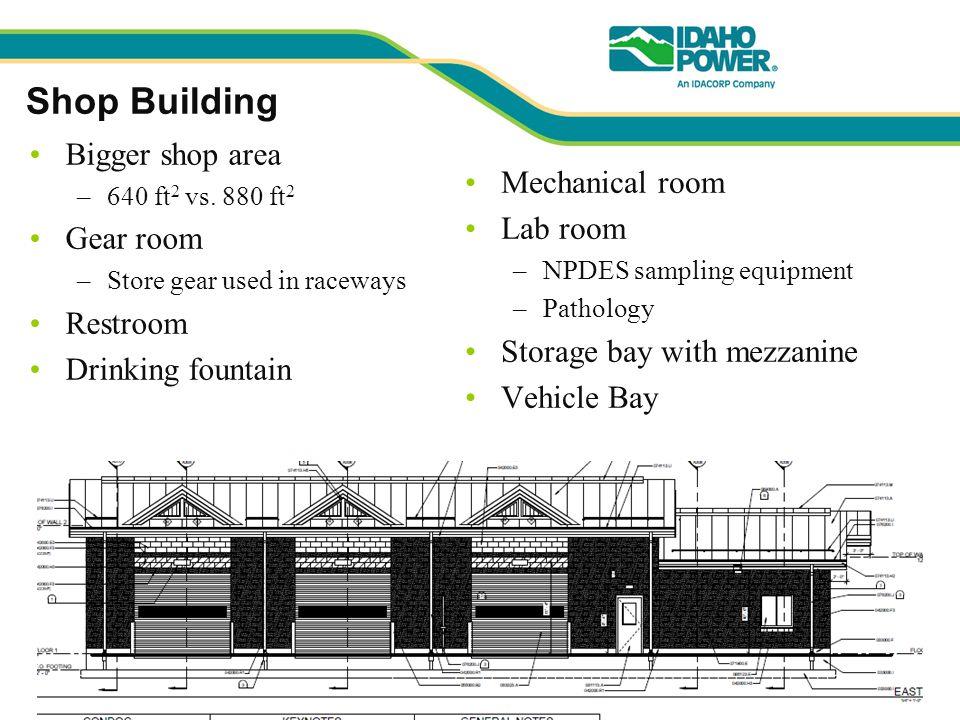 Shop Building Bigger shop area –640 ft 2 vs.