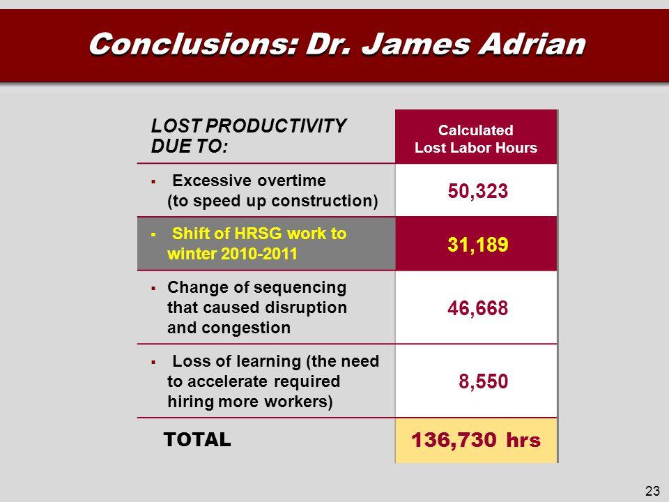 Conclusions: Dr.