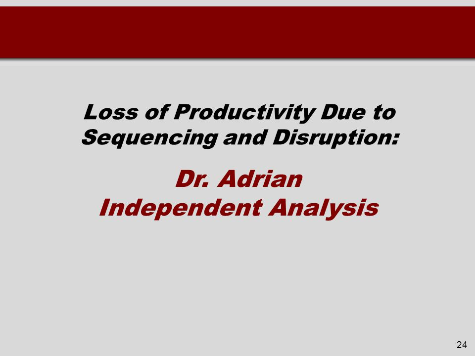 Loss of Productivity Due to Sequencing and Disruption: 24 Dr. Adrian Independent Analysis