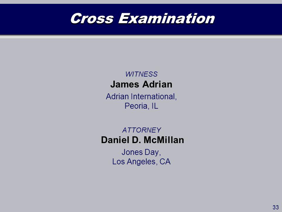 Cross Examination WITNESS James Adrian Adrian International, Peoria, IL ATTORNEY Daniel D.