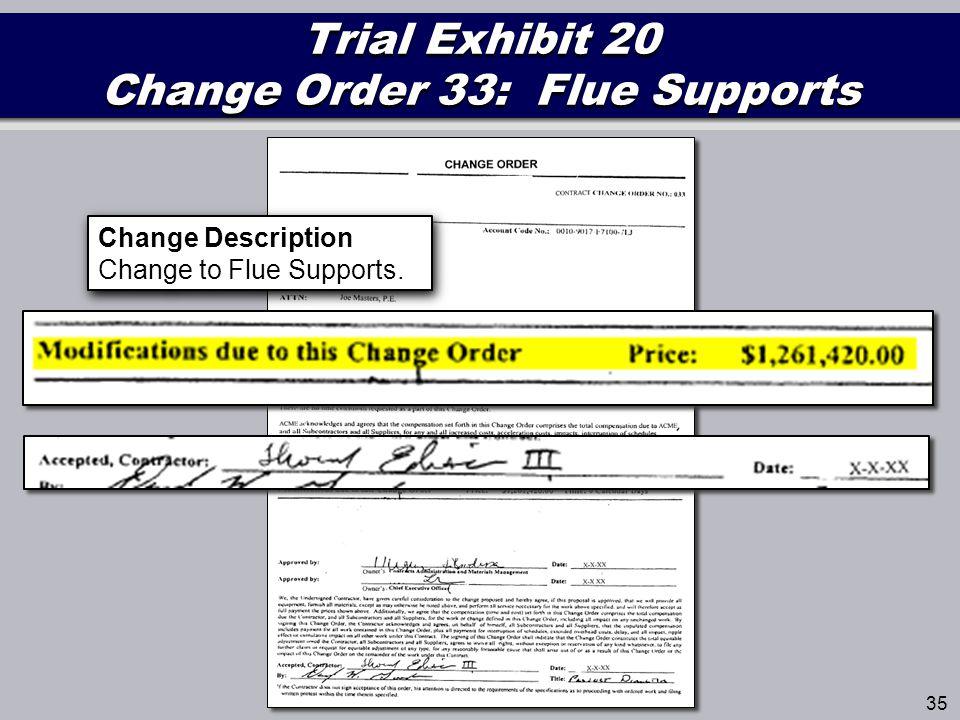 Trial Exhibit 20 Change Order 33: Flue Supports 35 Change Description Change to Flue Supports.