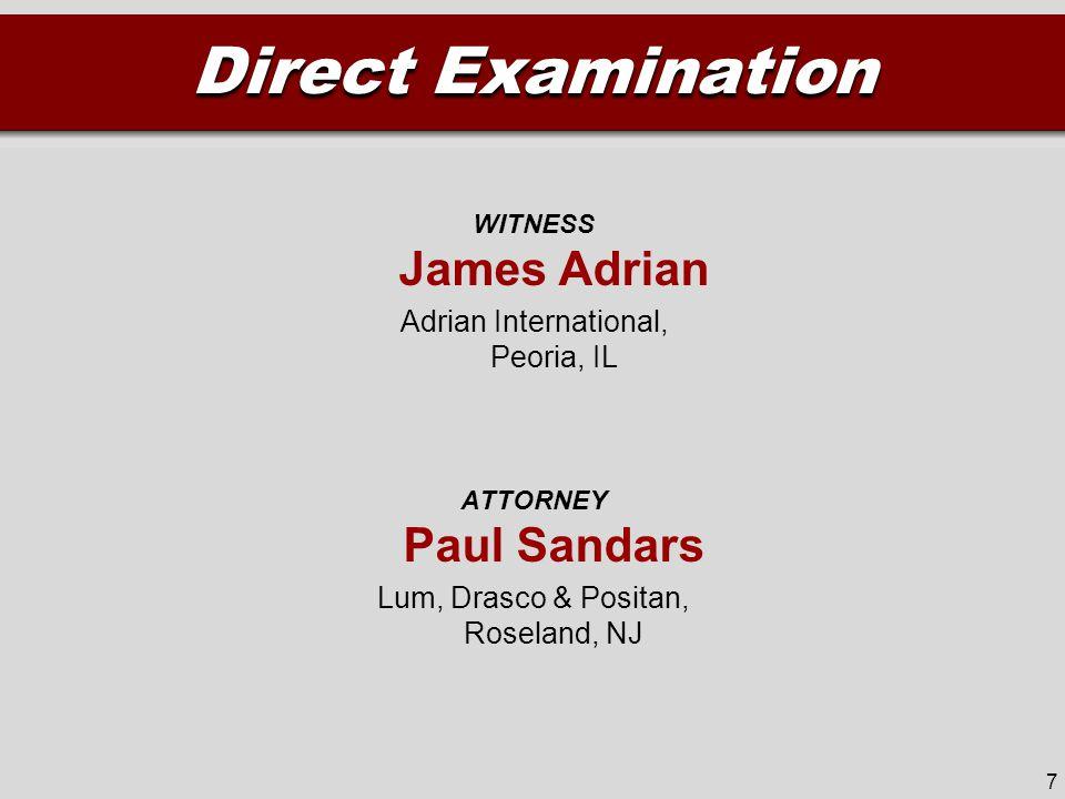WITNESS James Adrian Adrian International, Peoria, IL ATTORNEY Paul Sandars Lum, Drasco & Positan, Roseland, NJ Direct Examination 7