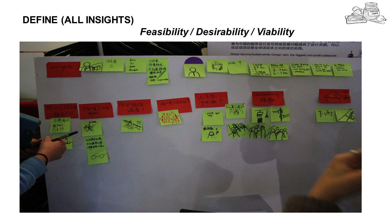 5 DEFINE (ALL INSIGHTS) Feasibility / Desirability / Viability