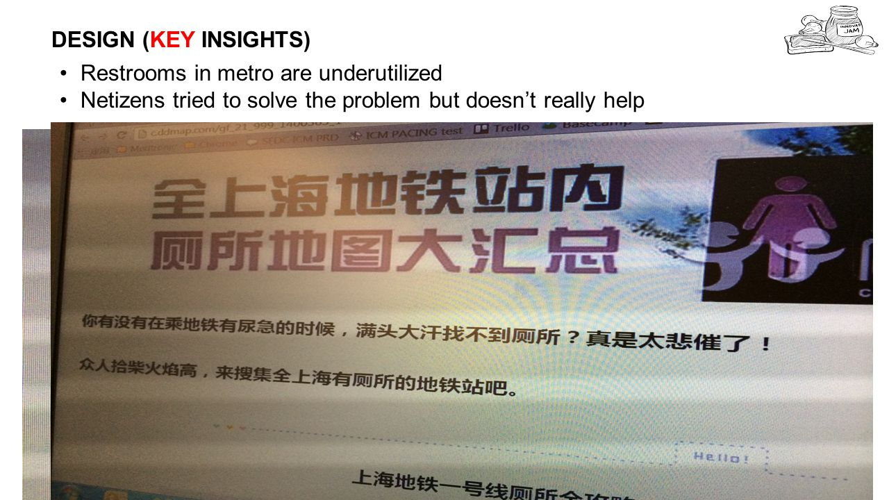 DESIGN (KEY INSIGHTS) 7 Restrooms in metro are underutilized Netizens tried to solve the problem but doesn't really help