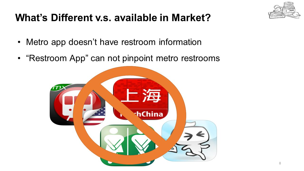 """What's Different v.s. available in Market? 8 Metro app doesn't have restroom information """"Restroom App"""" can not pinpoint metro restrooms"""