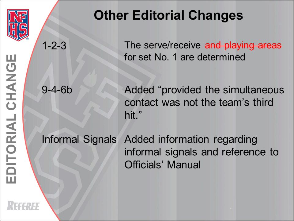 EDITORIAL CHANGE © REFEREE ENTERPISES INC. 2013 Other Editorial Changes 1-2-3 The serve/receive and playing areas for set No. 1 are determined 9-4-6bA