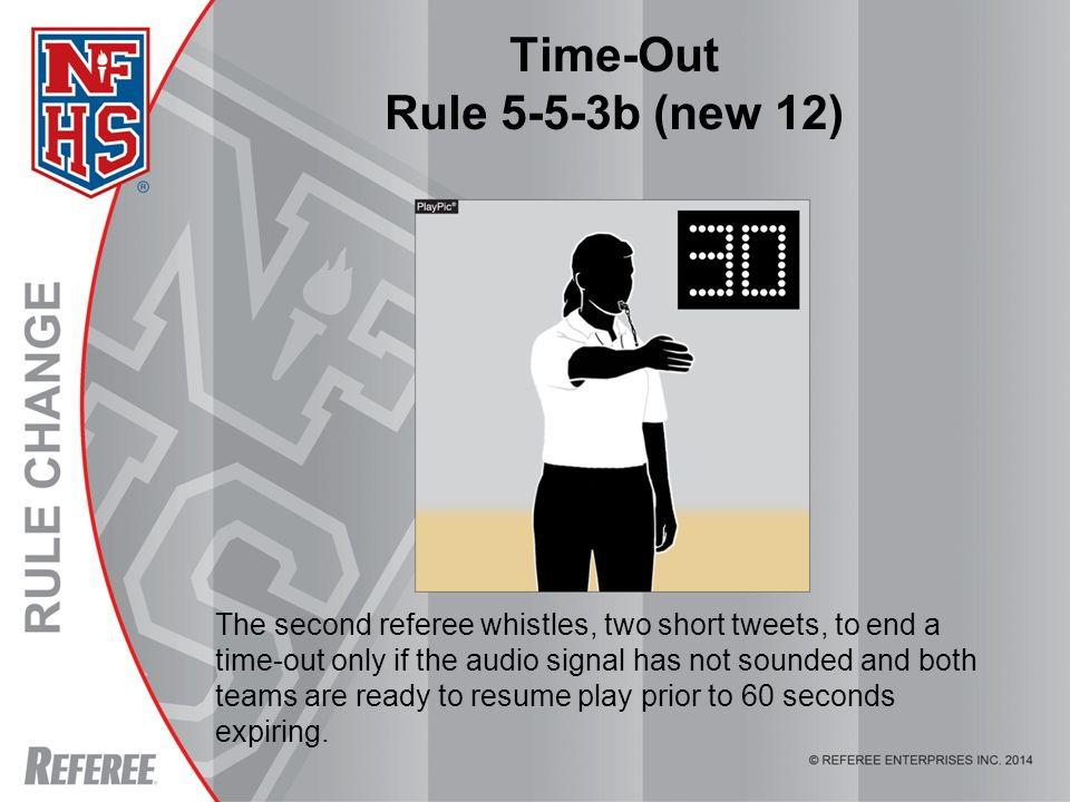 © REFEREE ENTERPISES INC. 2012 Time-Out Rule 5-5-3b (new 12) The second referee whistles, two short tweets, to end a time-out only if the audio signal