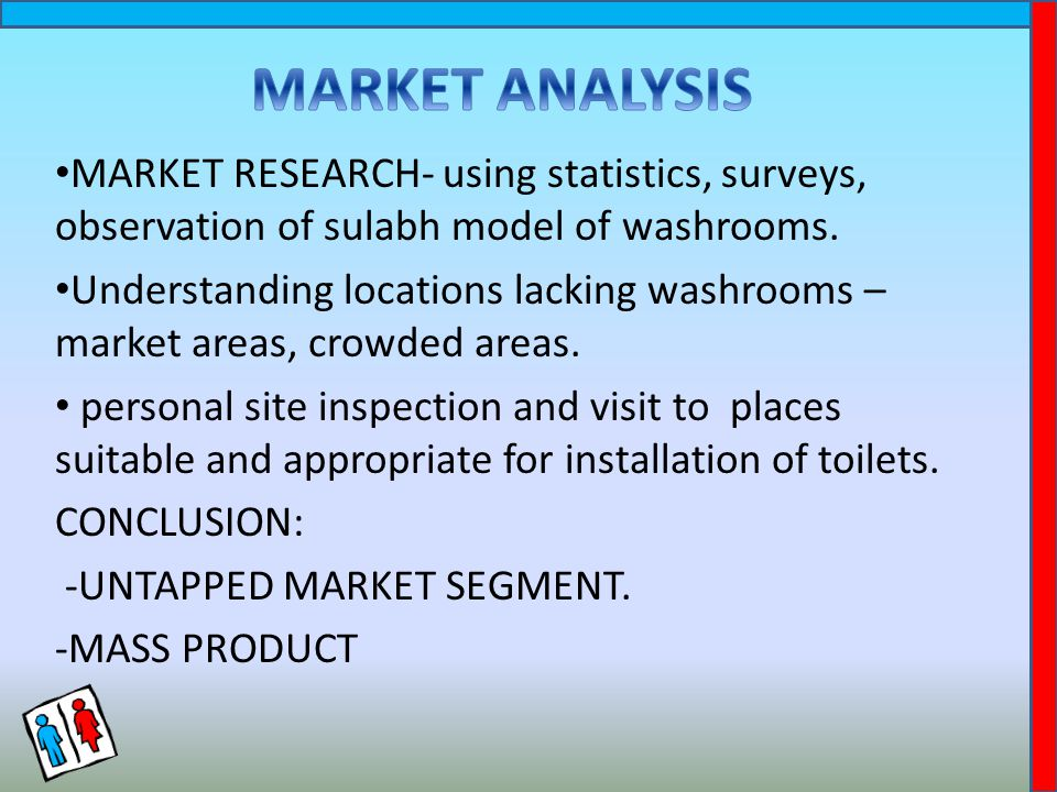 MARKET RESEARCH- using statistics, surveys, observation of sulabh model of washrooms.