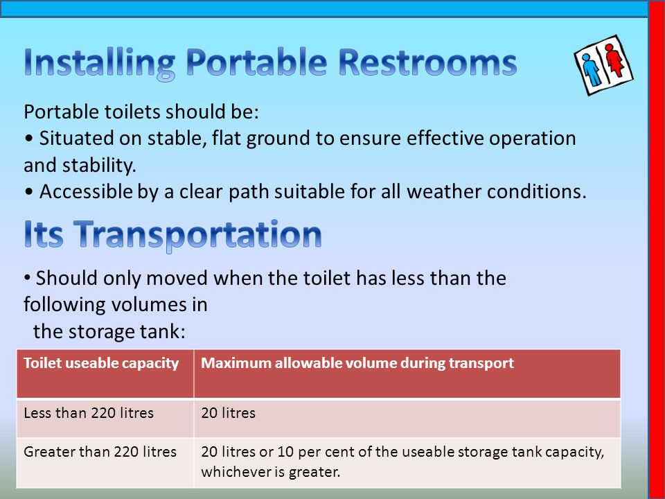 Portable toilets should be: Situated on stable, flat ground to ensure effective operation and stability.