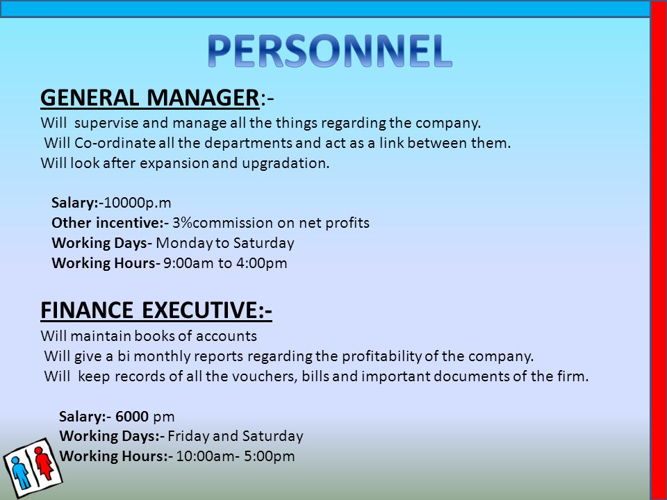GENERAL MANAGER:- Will supervise and manage all the things regarding the company.