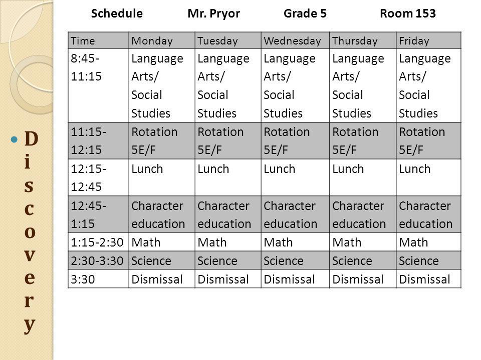 ScheduleMr. PryorGrade 5Room 153 TimeMondayTuesdayWednesdayThursdayFriday 8:45- 11:15 Language Arts/ Social Studies Language Arts/ Social Studies Lang