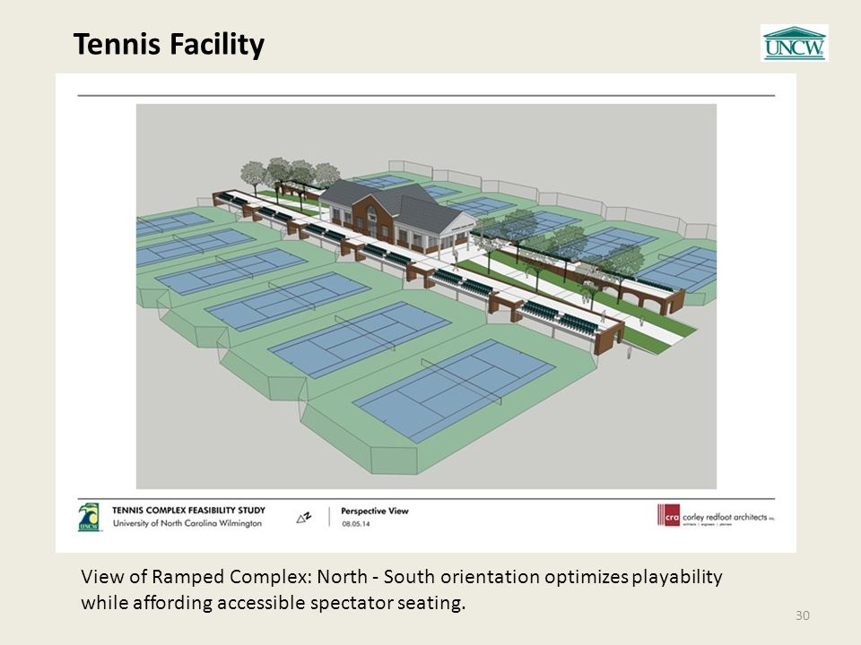 Tennis Facility 30 View of Ramped Complex: North - South orientation optimizes playability while affording accessible spectator seating.