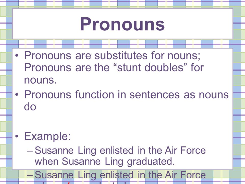 Pronouns Pronouns are substitutes for nouns; Pronouns are the stunt doubles for nouns.