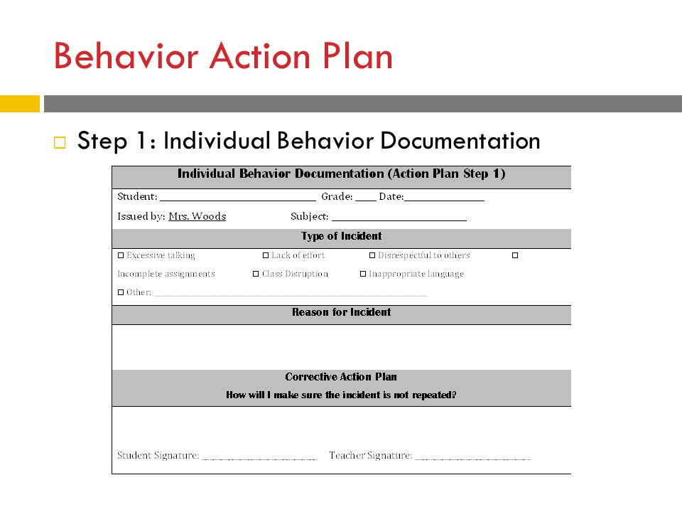 Behavior Action Plan  Step 1: Individual Behavior Documentation