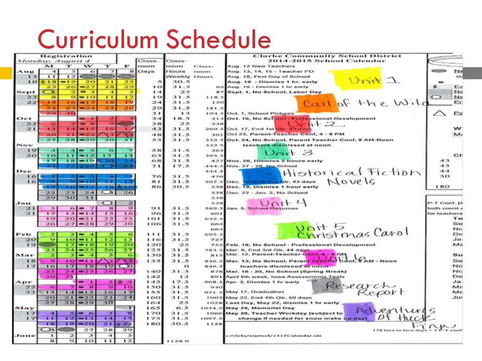 Curriculum Schedule