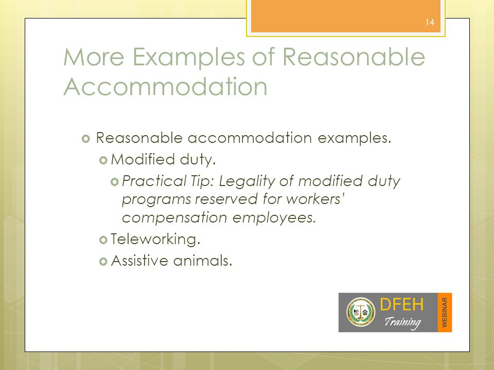 More Examples of Reasonable Accommodation  Reasonable accommodation examples.
